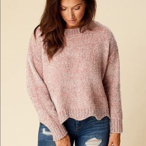ALTAR'D STATE Sparkly Cropped Scallop Sweater